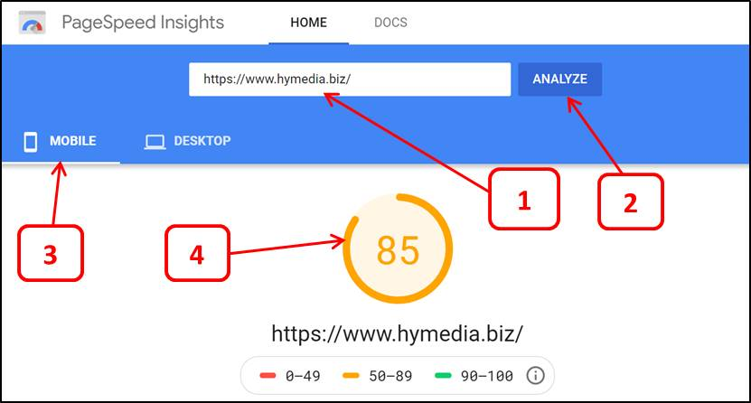 Mobile Page Speed Score for Hymedia Web Page